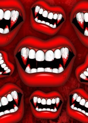 Vampire Red Bloody Mouth
