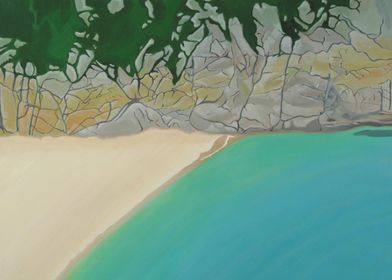 Curno.Looking down onto porthcurno beach.