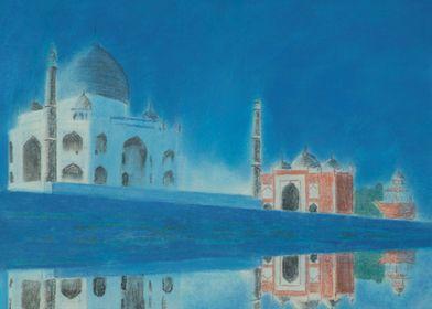 Taj.A reflection of the Taj Mahal,