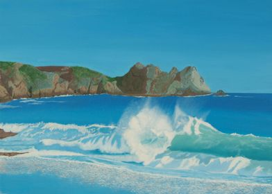 Porthcurno wave.A breaking wave at Porthcurnos beautifu ...