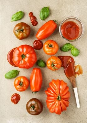 Assortment of fresh French heirloom tomatoes, basil and ...