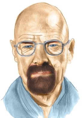 Hand Drawing of Bryan Cranston playing Walter White on  ...