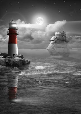 At night on the sea with sailing ship and lighthouse un ...