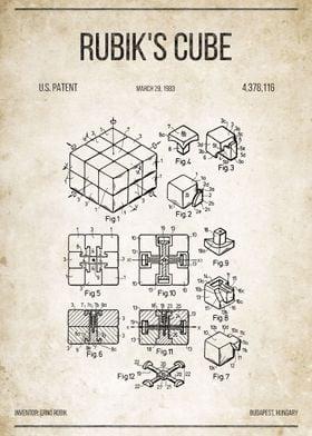 Rubik's Cube U.S. Patent #4,378,116 on old paper.