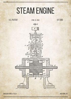 Steam Engine U.S. Patent #517,900 on old paper.