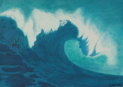Breaking Wave,A breaking wave in pastel.