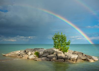Rainbow at the beach after a large storm