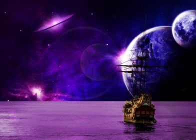 Sailing of to space.