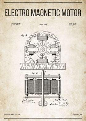 Electro Magnetic Motor U.S. Patent #382,279.