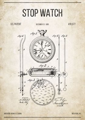 Stop Watch (stopwatch) U.S. Patent #418,577.