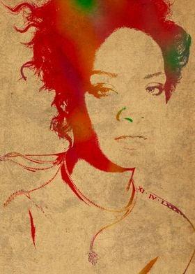 Rihanna Watercolor Portrait