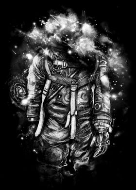 Lost In Cosmic Shades - Astronaut painting in black and ...