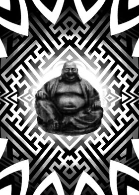 geometric pattern with dotwork buddha