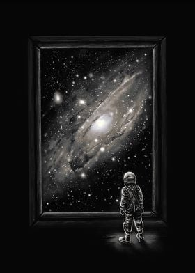 Looking Through a Masterpiece - Astronaut looking throu ...