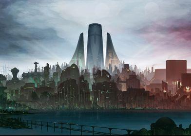a view of the utopian cyber-city of Metru Nui