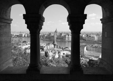 View from Fisherman's Bastion to the Parlament. Budapes ...
