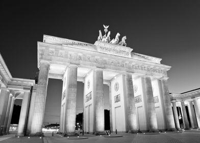Brandenburg Gate in Berlin. Beautiful black and white n ...