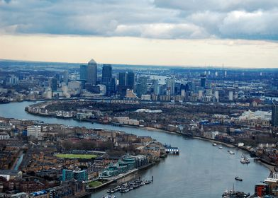 View from the shard, London, featuring an S bend in the ...