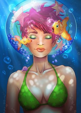 A wannabe mermaid in a glass bowl. Swimming with fish a ...