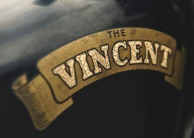 Close up of a classic British VINCENT insignia