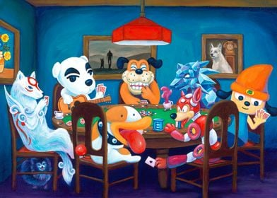 Video Game Dogs Playing Poker