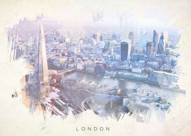 Watercolor abstract of London.