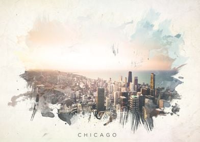 Watercolor abstract of Chicago.