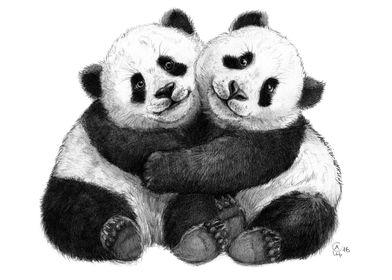 Panda Hugs G143 by Svetlana Ledneva-Schukina graphite ...