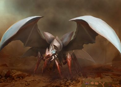 Flying Eschaton Beast.  Concept art for the upcoming Es ...