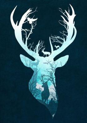 Deer Blue Winter