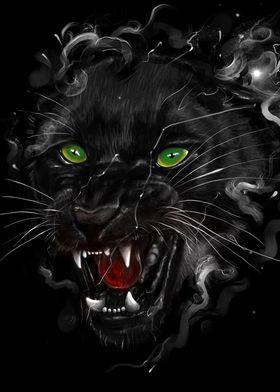 Black Panther - Digital painting of black panther.