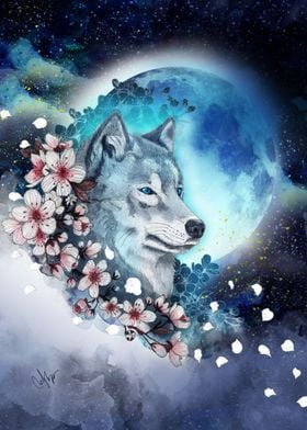 wolf and sakura in the moonlight