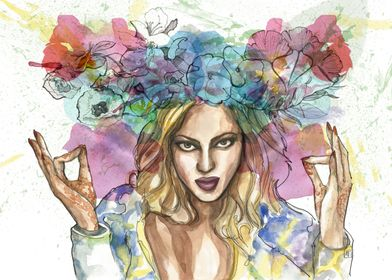 Portrait of Beyonce. Ink, watercolour, and digital.