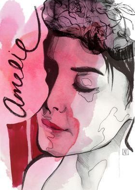 Cinema poster of Amelie de Poulain. Ink, graphite, wate ...