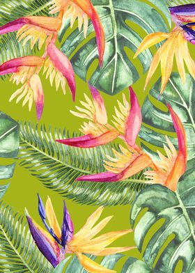 tropical pattern  watercolor flowers and leaves