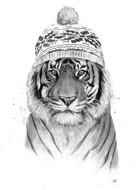 Siberian tiger (b&w)