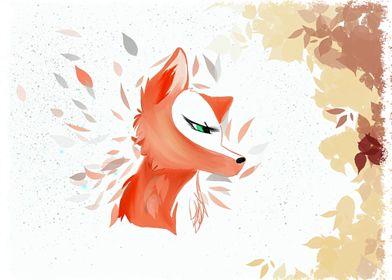 foxatcat fox art