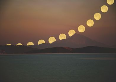 Precession of moon with mount Athos in foreground