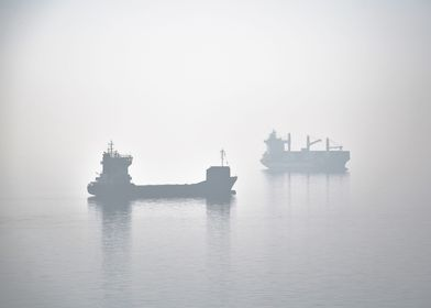 Two ships wait in the harbor of Thessaloniki