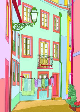 Castle street, photography taken in Lisbon. A Pop art a ...