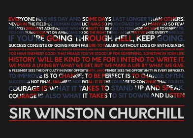 A typographic Churchill poster of some of his most memo ...