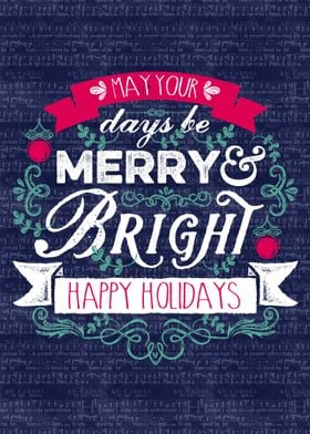 Merry & Bright Christmas Banner Happy Holidays Typograp ...