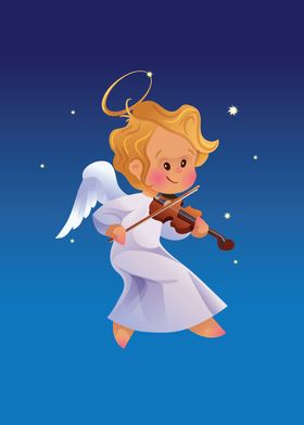 Nicely and happy smiling cute angel making music playin ...