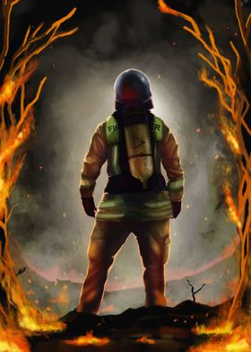 Firefighter in flames