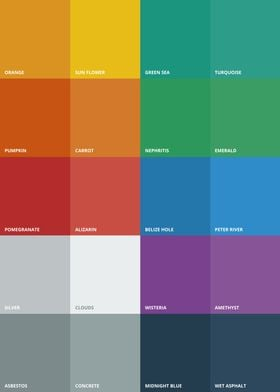 A flat UI colour palette for web designers