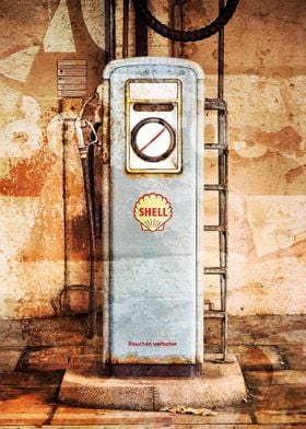 A photo montage of a vintage gas pump which has been me ...