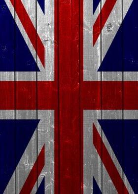 The Union Jack designed using a vintage wood texture.