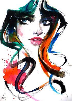 Beautiful woman watercolor portrait, fashion illustrati ...