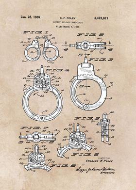 patent art Foley Secret Release Handcuffs 1966