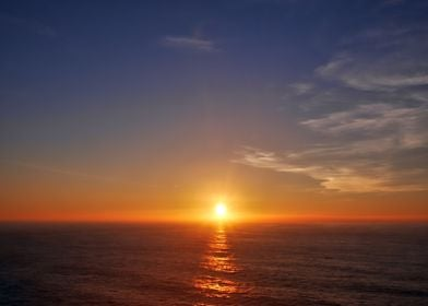 Sunset over the Atlantic Ocean at Death Coast in Galici ...